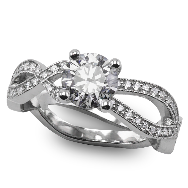 Double asymetric diamond band solitaire engagement ring