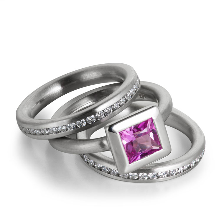 Hot pink tourmaline with with diamonds in gray gold