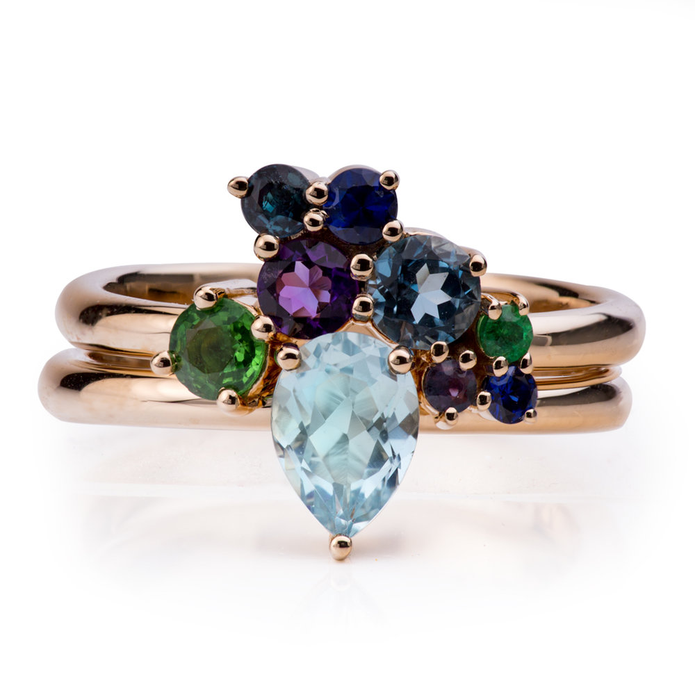 Multi Gem Engagement Ring
