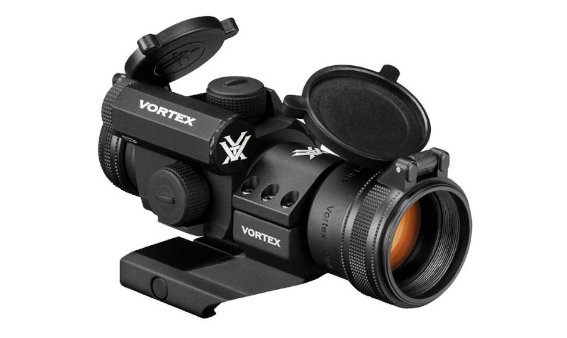 Vortex Strikefire II red/green dot sight on cantilever mounthttp://www.vortexoptics.com/