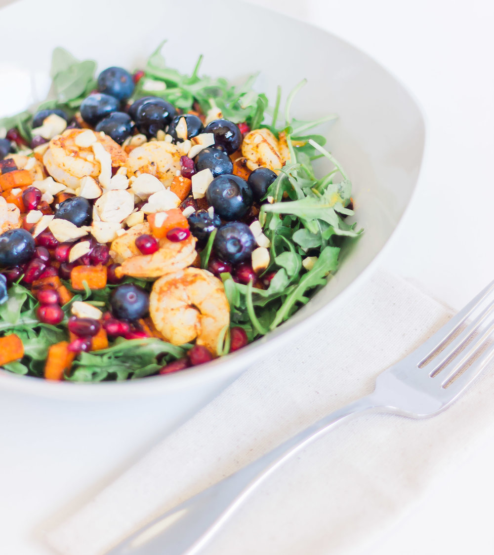Chili Lime Shrimp Arugula Salad