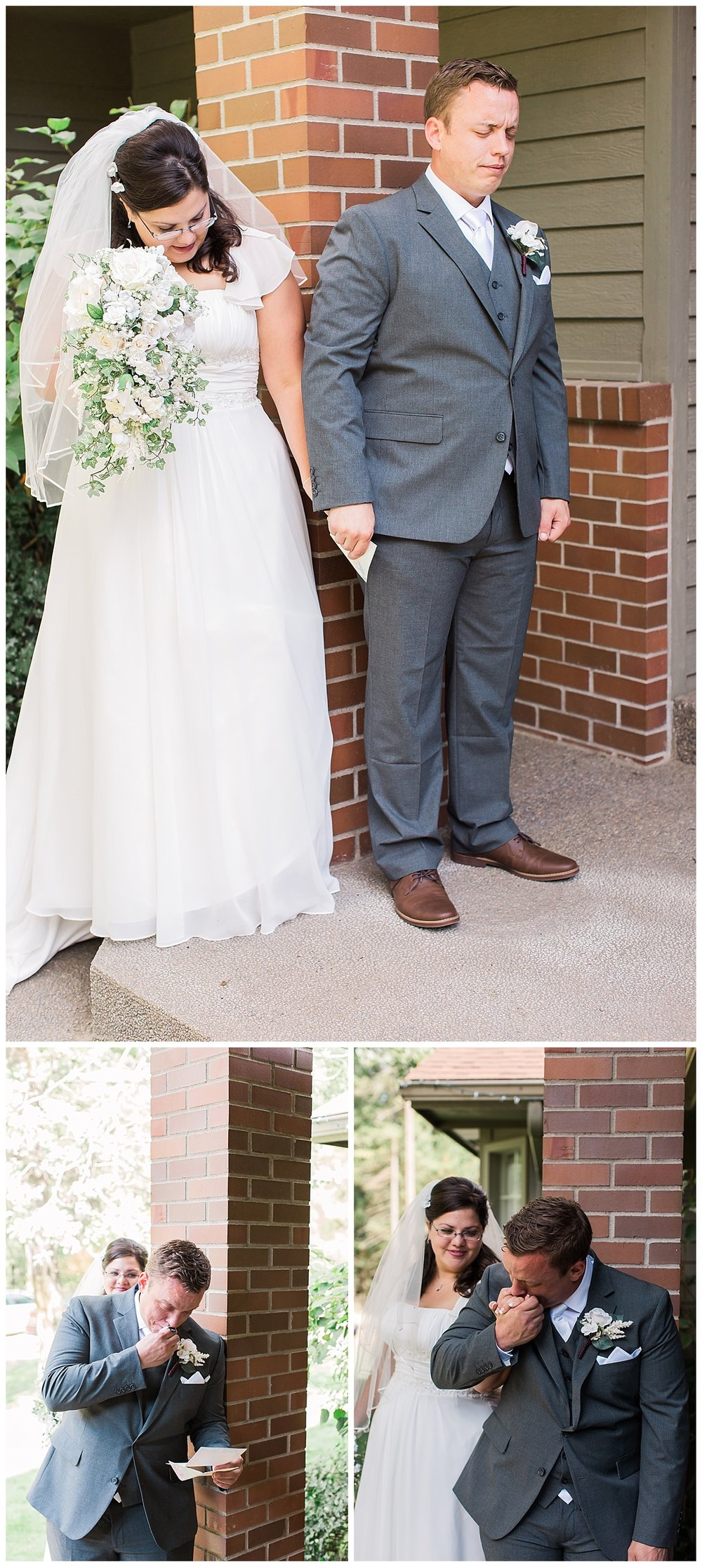 around corner bride and groom