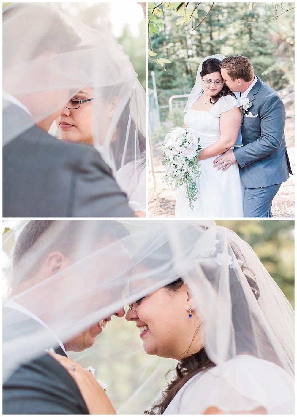 bride and groom veil photos