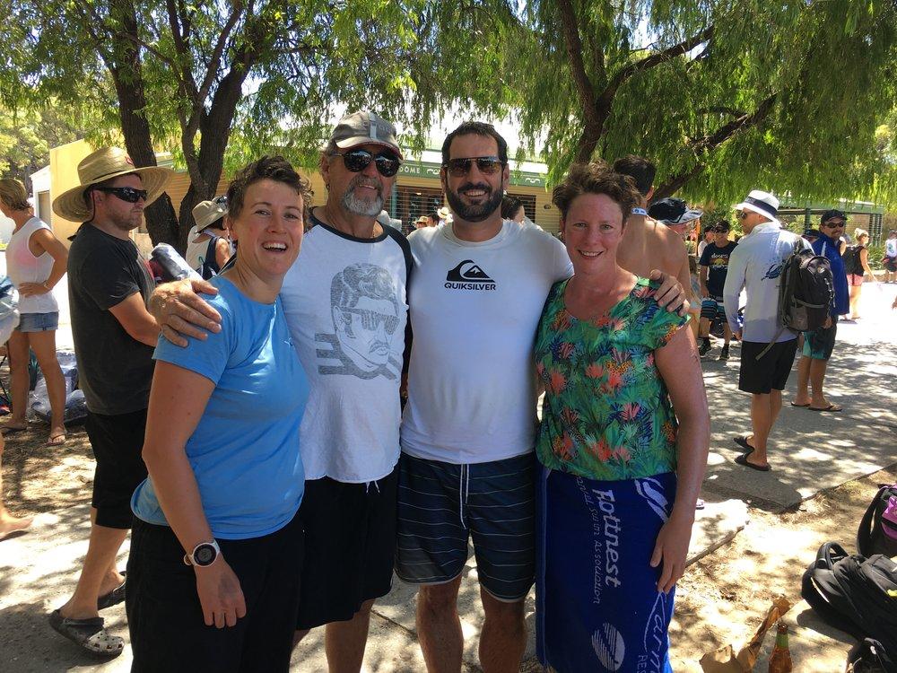 Helen, Dave, Paddy, me, post-swim