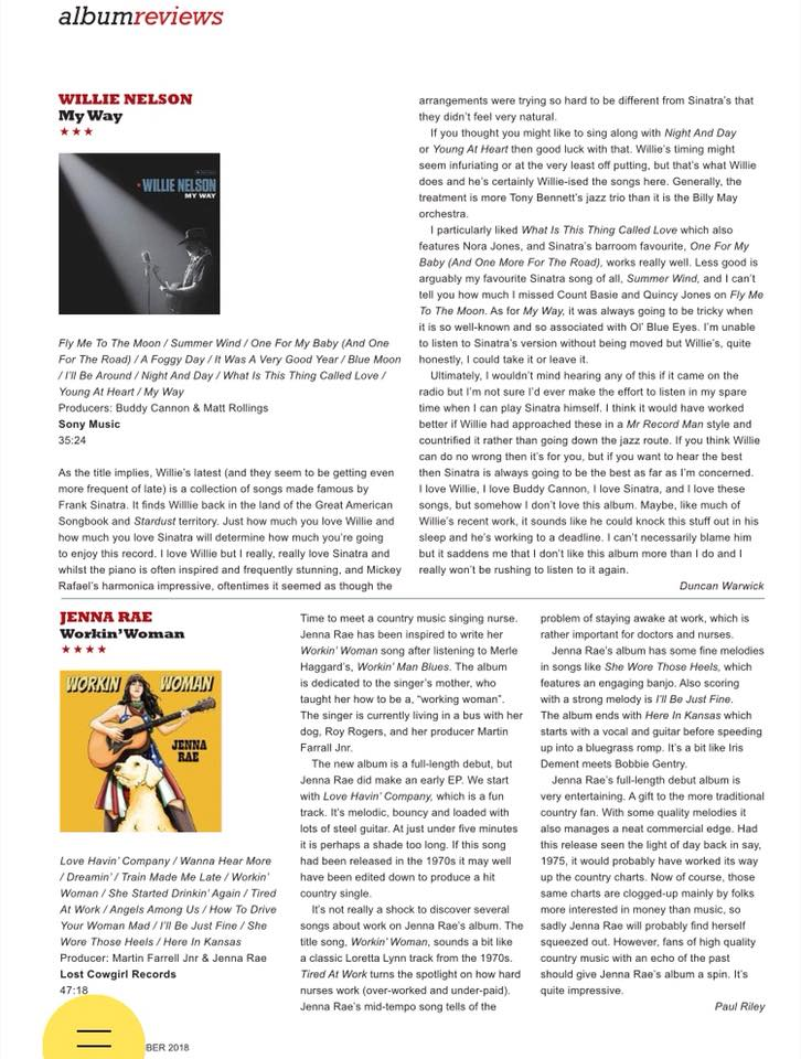 Jenna's first album review from Country Music People Magazine! Thank you CMP!