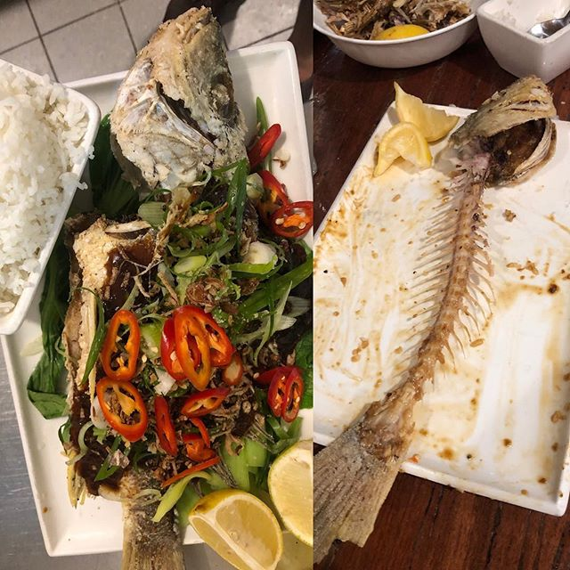 Before and after.  Crispy skinned whole Reef Fish Ask about today's catch! Drizzled with sweet soy, ginger & chilli sauce, accompanied w/ Asian greens & steamed jasmine rice #catchoftheday #fresh #tasteofthewhitsundays #thisisqueensland #lovewhitsundays #dinner #cheflife