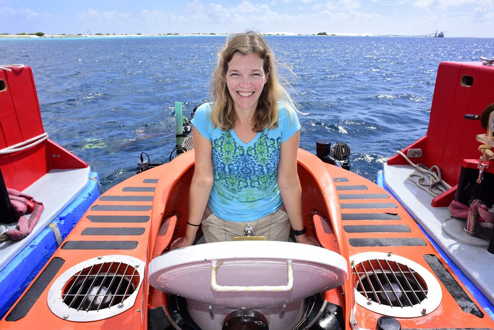 Katherine's first trip in the Curasub!   Photo by Barry B. Brown.