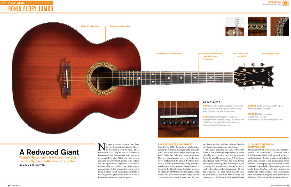 "Acoustic guitar magazine cover and gear review of the Ronin ""glory"" redwood top jumbo acoustic."