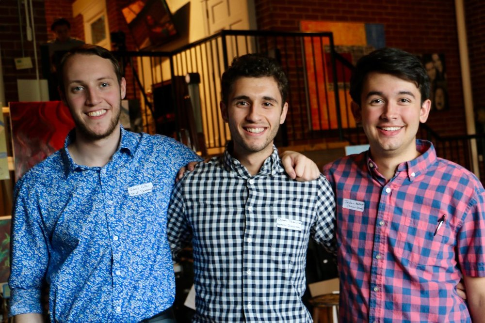 Robert Fuller, Dylan Tashjian, and Jordan Makant celebrate the successful launch of the First Annual Hickory Playground Gala for the Arts on June 2, 2018.