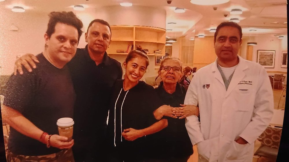 Thomas' wife Nicole, family and his surgeon Dr. N Patel
