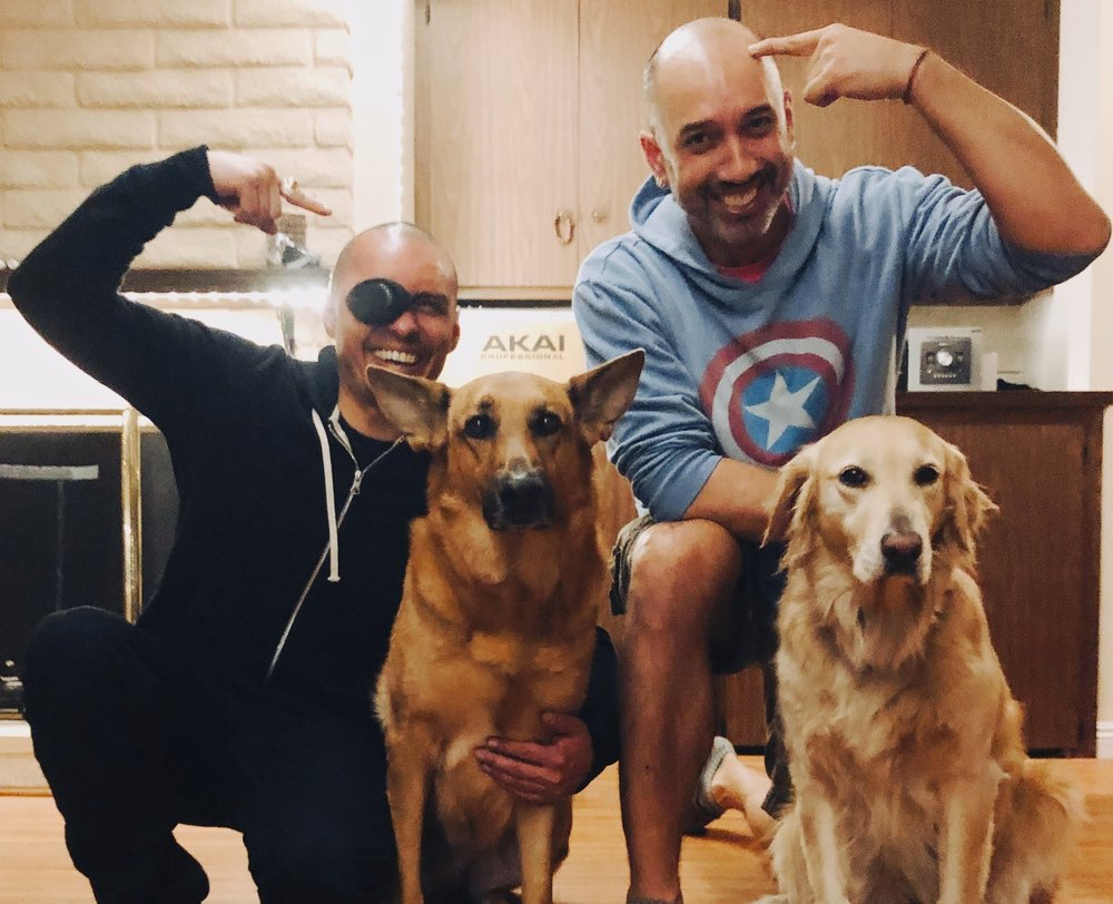 Thomas and Joe with their pups after his interview on The NeuroNerds podcast.