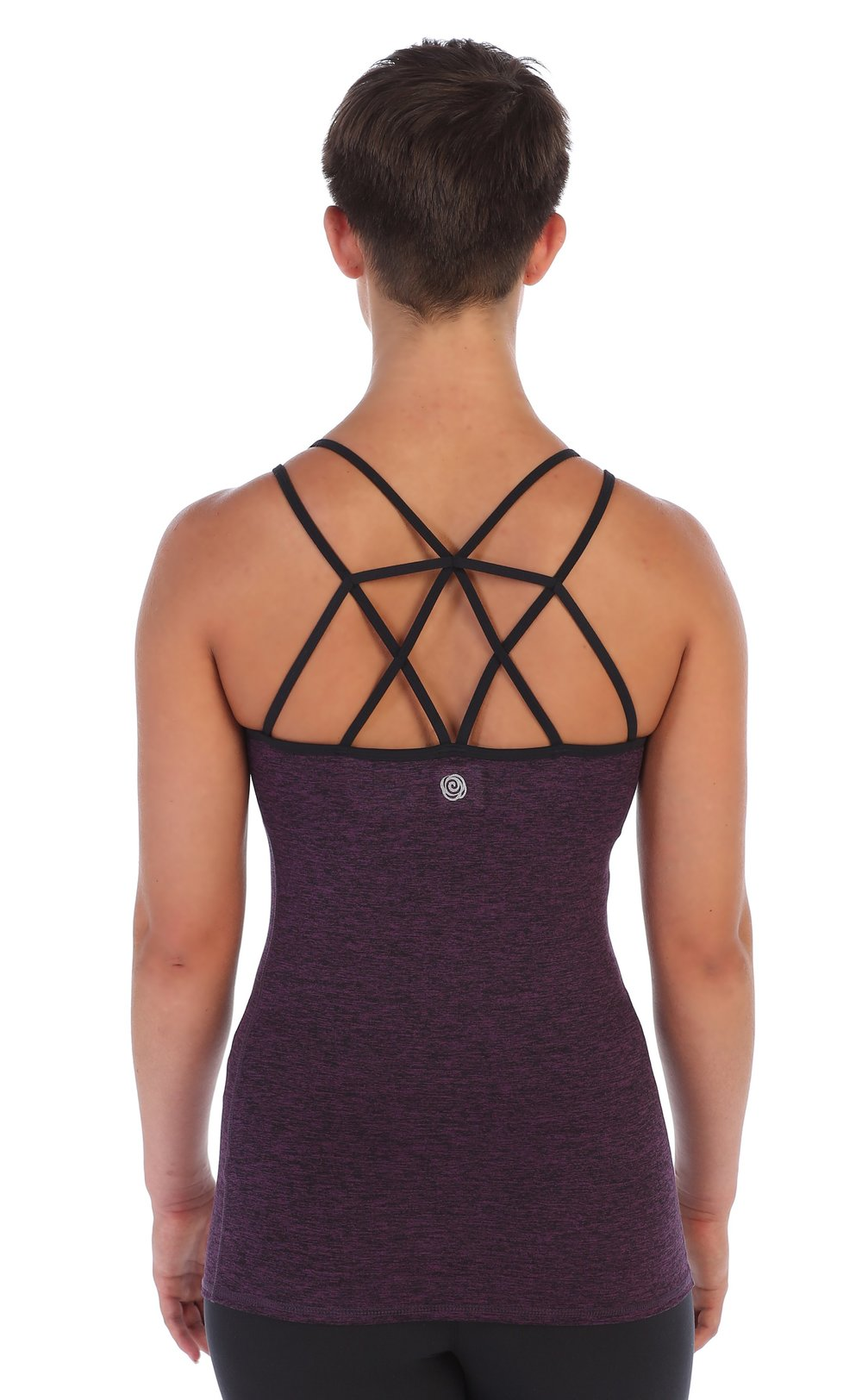 LATTICE BACK CAMI TOP BUILT IN SPORTS BRA