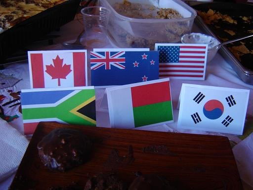 This is a picture from 2007 at my farewell party in Madagascar.The flags represent my best friends' nationalities at the party.