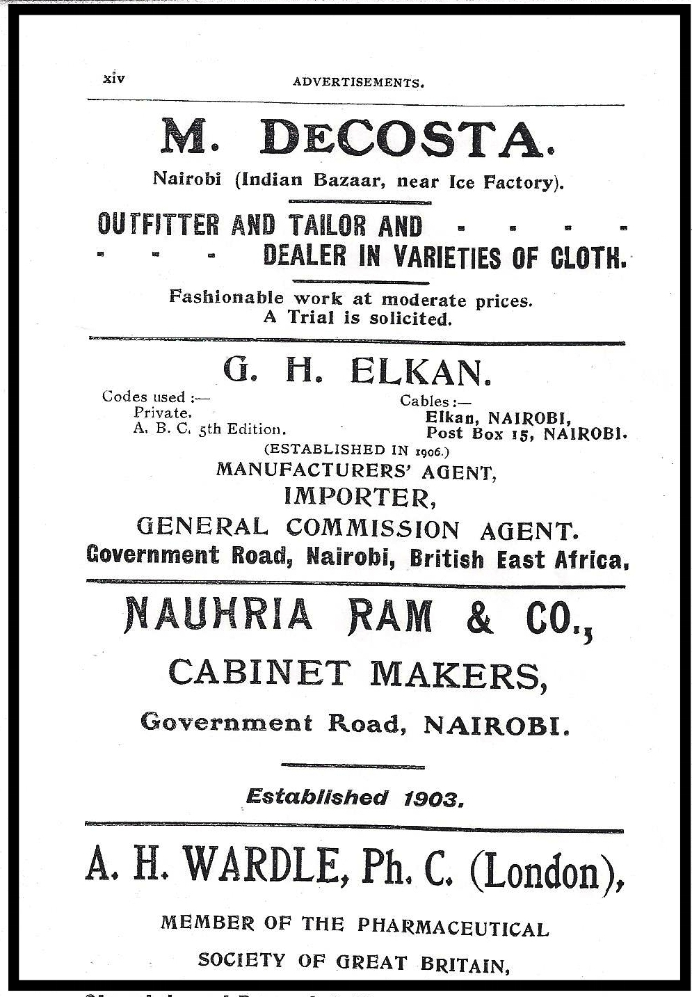 A Goan tailoring outlet located at the Nairobi Indian bazaar advertising in the Kenya Directory of 1920. Courtesy Clifford J. Pereira.