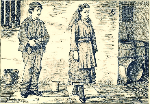 Adopted children in English literature, Pip and Estella of Great Expectations by Charles Dickens. Illustration by F. A. Fraser courtesy Wikipedia commons.