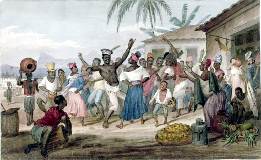 The initial word for adopted children in Goa was 'crioulo', a word linked to North American slaves of African descent. Were abandoned or freed African slaves in Goa the original poskim? Illustration of slaves preforming jongo in Brazil courtesy of Wikipedia commons.
