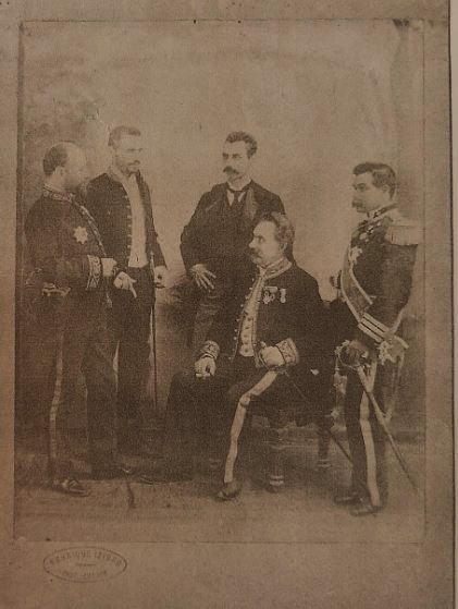 Augusto Bras de Sousa (far right) seen here with unidentified European officials, c. 1881-1902. Bras became the first Goan to be appointed by the Portuguese as consul-general in Zanzibar in 1892 having served as vice-consul since 1885. The sword he is wearing is mostly likely to have been bequeathed him by the Sultan of Zanzibar. Other distinguished Goans of the era were bestowed similar honours. Photo cannot be reproduced without the permission of Ze Muller.