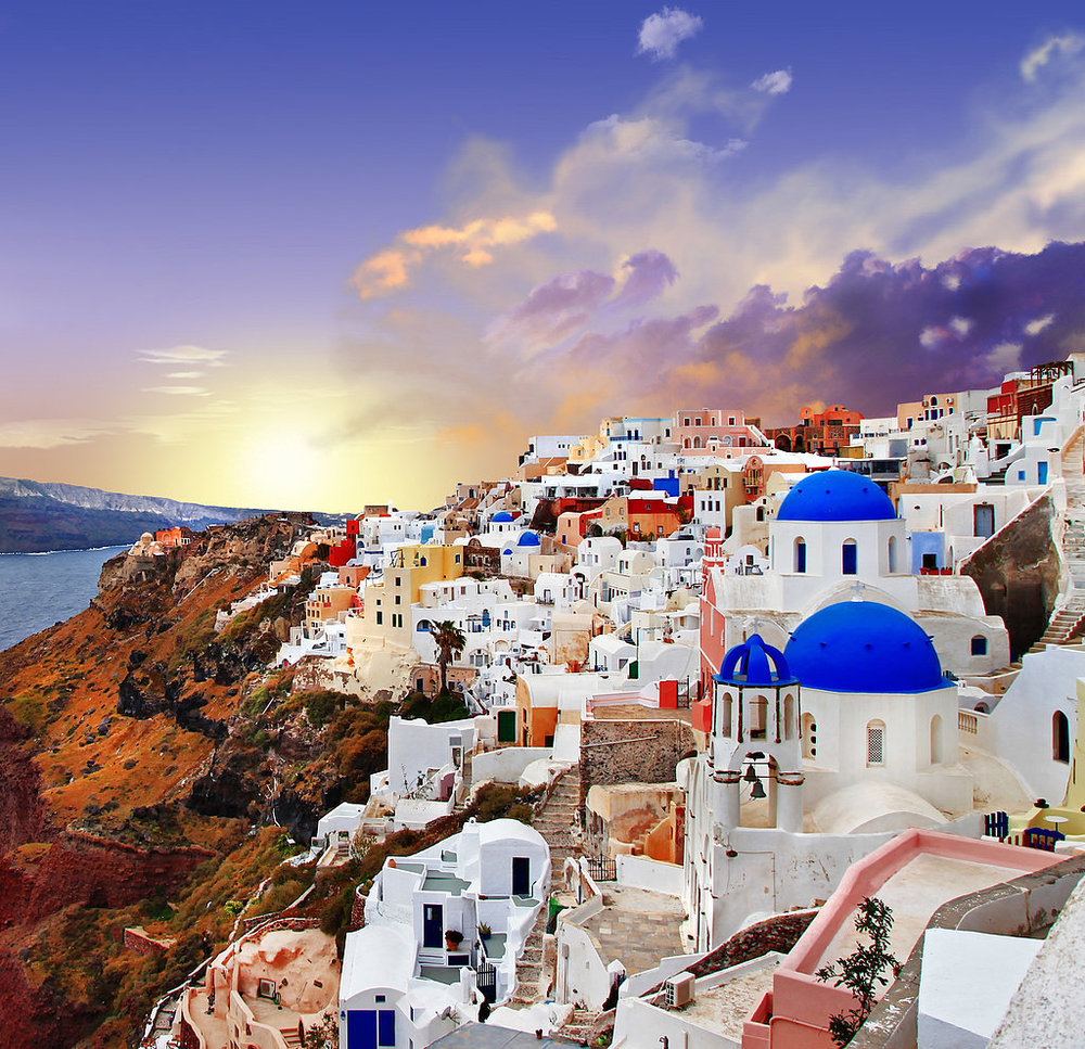 A mythical ancient island that endured one of the largest volcanic eruptions in history, Santorini feels like no other place on earth. Here, everything is brighter: the whitewashed cube-shaped houses, the lapis lazuli sea, and the sunsets that light up the caldera. Base yourself in picturesque Oia, on the island's northern tip.