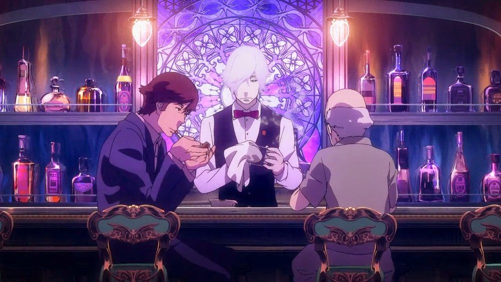 The young and old contestants in the Death Billiards match meet at a beautiful bar, complete with stained glass windows, ornate furniture, and a handsome bartender in vest and bow-tie.