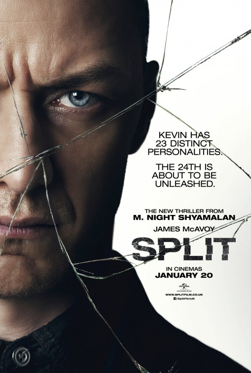 Movie poster for Split, featuring the lead actor's face and an image of broken glass on top.