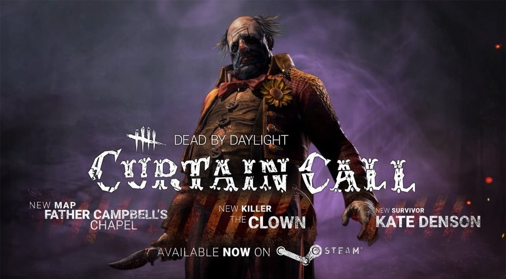 Poster for  Dead by Daylight's Curtain Call  DLC, featuring an image of the new Clown killer on a smokey purple background.