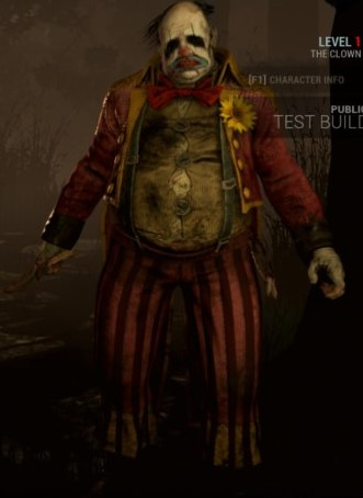 The Clown, a new killer in  Dead By Daylight , wearing a ringmaster costume that barely fits him and wielding a knife in the character select screen.