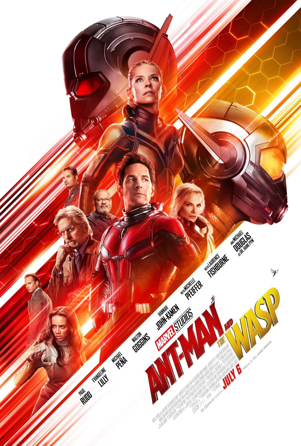 Movie poster for Ant-Man and the Wasp, featuring all the major characters in the film: Ant-Man, The Wasp, Dr. Pym, Ghost, and Janet van Dyne
