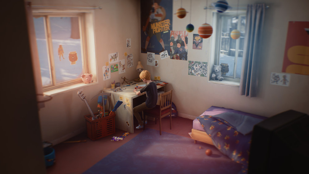 Chris playing in his bedroom, surrounded by toys, his drawings, and plans to become the greatest superhero ever.