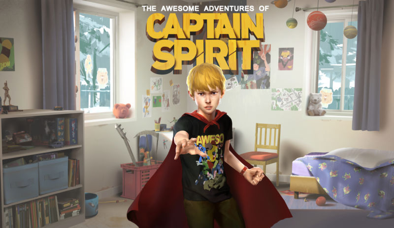 The store logo for  The Awesome Adventures of Captain Spirit , featuring Chris in his superhero cape reaching out his arm in his bedroom.