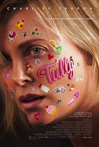 Tully  movie poser featuring Marlo covered in children's stickers.
