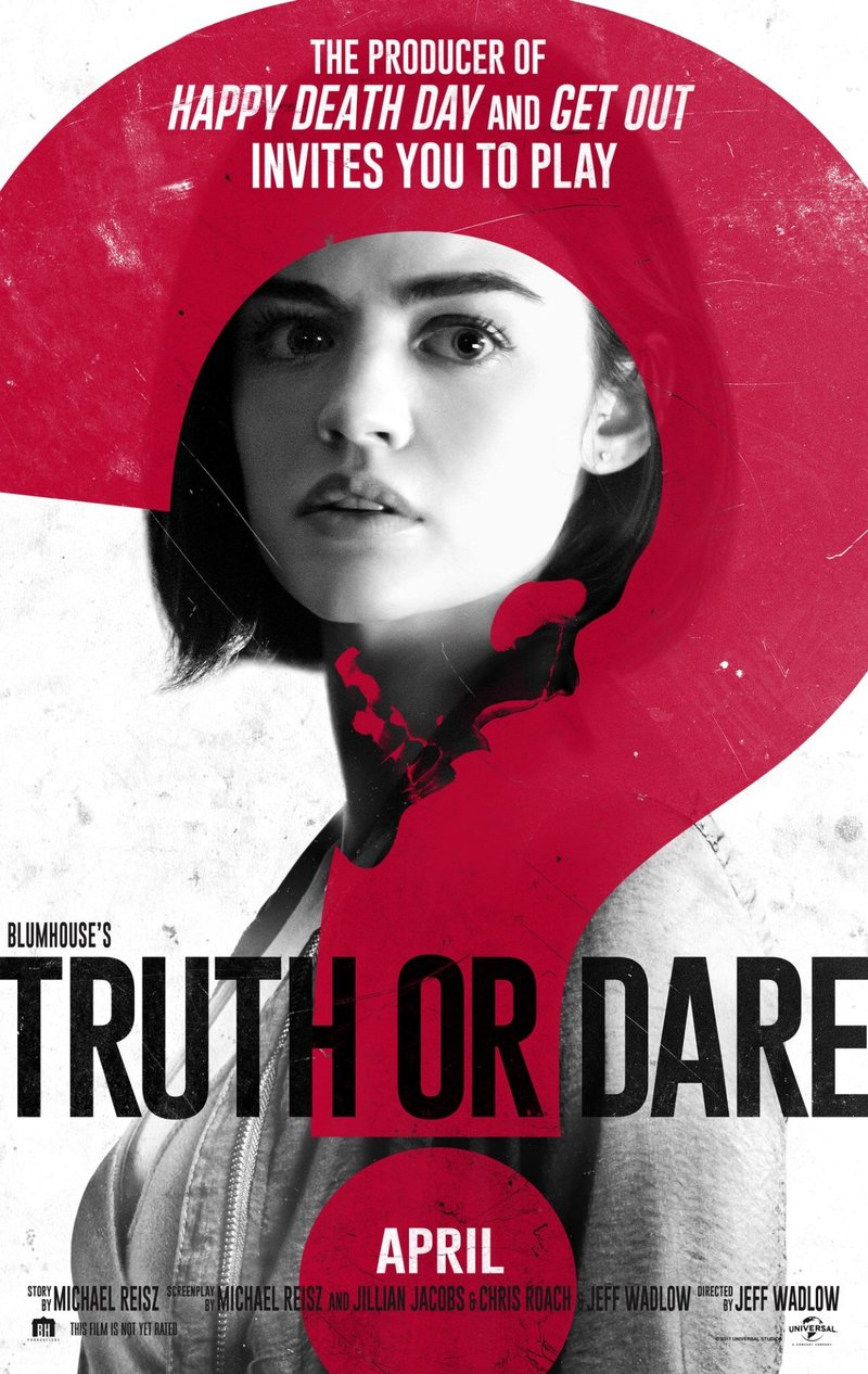 "Film poster for  Truth or Dare , featuring a young woman covered by a red question mark and the text ""Truth or Dare."""