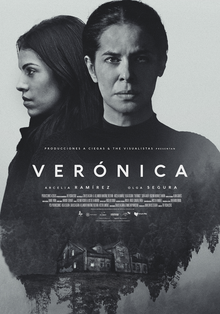 Film poster for  Verónica , featuring the psychologist and Verónica standing over the remote house in the woods.