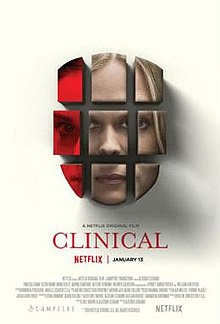 Clinical film poster, featuring a heavily doctored image of the psychiatrist's face separated into different pieces.