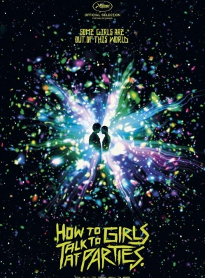 How to Talk to Girls at Parties  film poser, featuring an explosion of colors repesenting a galaxy and the silhouettes of the two young lovers in the center.
