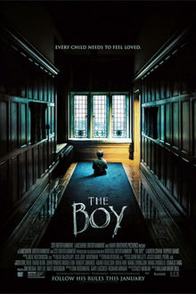 "The Boy  film poster, featuring Brahms staring out a window and the tagline ""Every child needs to feel loved."""