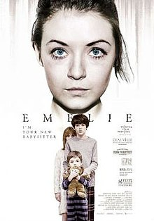 Emelie  film poster, featuring the babysitter looking over the scared children.