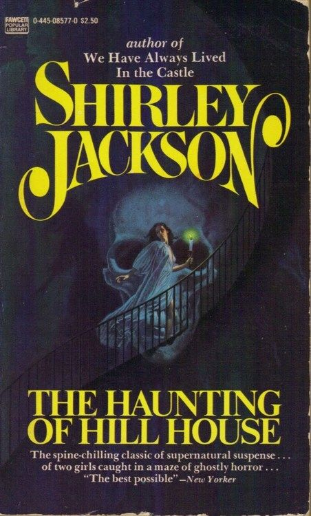 The Haunting of Hill House has been in print for decades, with various cover art styles. I'm a fan of his trashy looking splash art featuring Eleanor ascending a staircase in front of a giant skull.