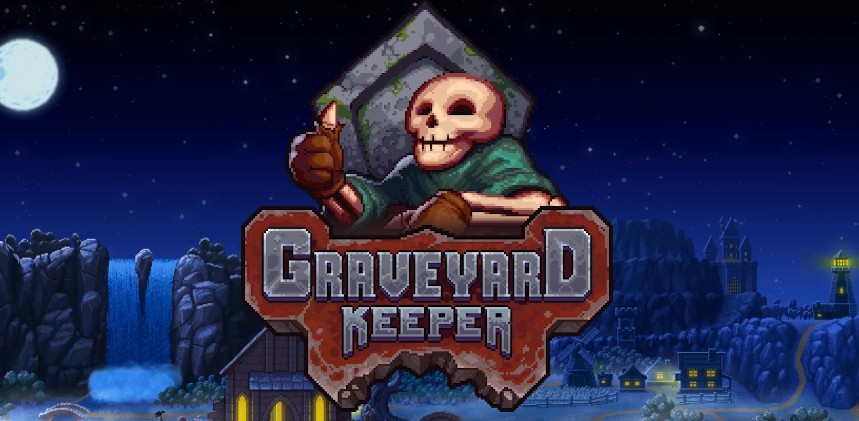 Graveyard Keeper's  logo, featuring an icon of the games name and a skeleton giving you a thumbs up in front of the game's beautiful art.