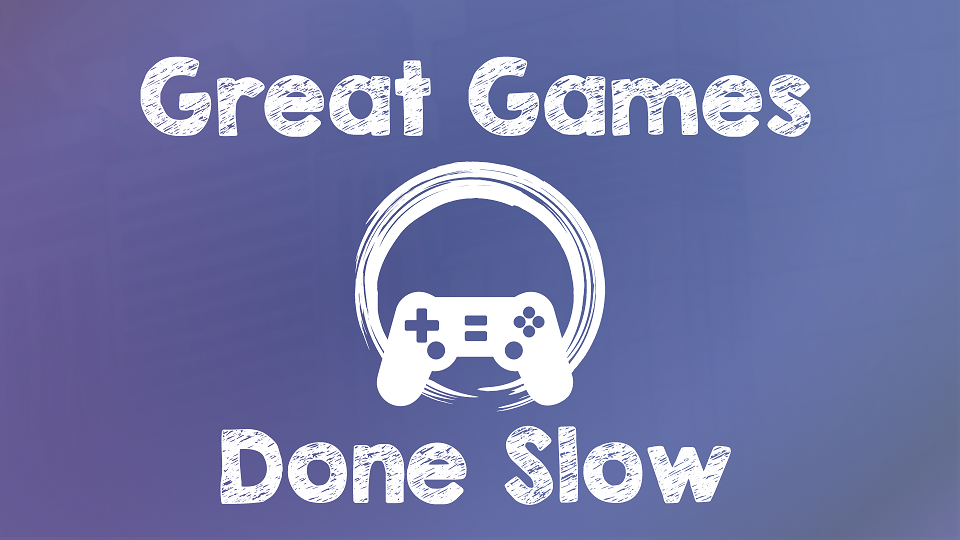 Great Games Done Slow logo, with a white controller over a brushstroke circle on a gradient purple background.