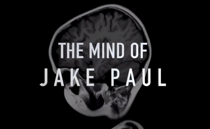 """""""The Mind of Jake Paul"""" series logo, featuring the title over an x-ray of a human skull and brain."""