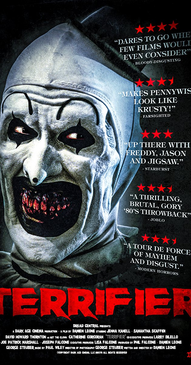 Terrifier  poster, featuring Art the Clown and his menacing grin.