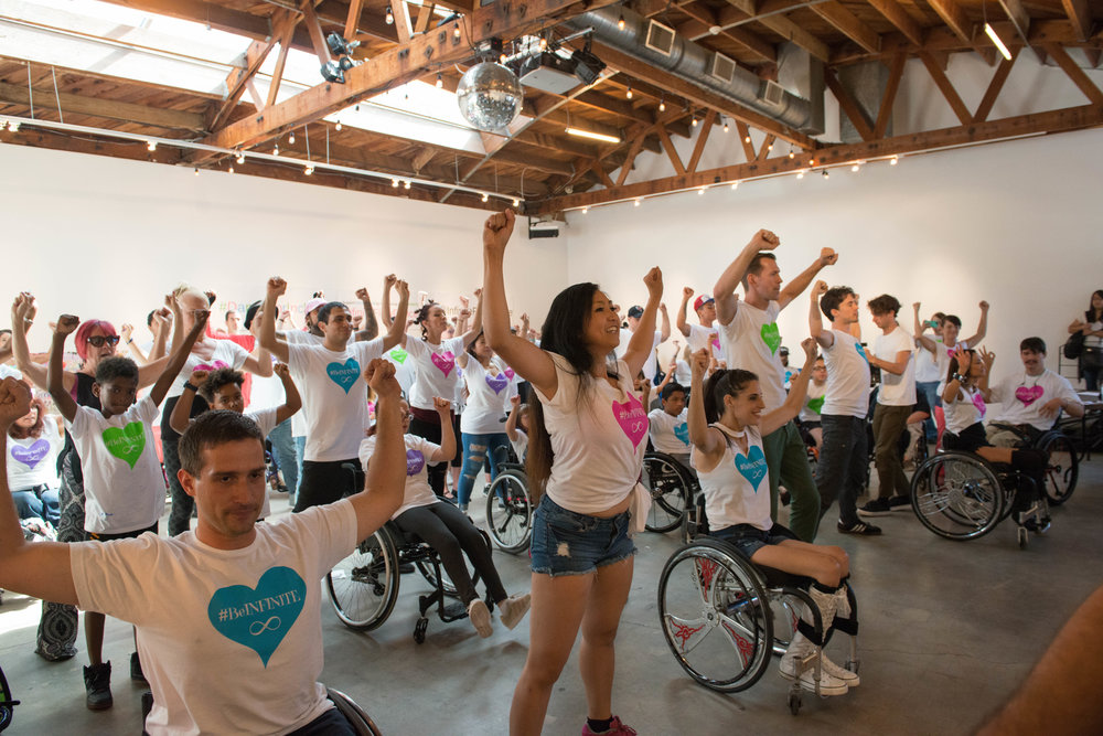 Marisa leading a #DanceForInclusion Flashmob rehearsal. Photo by Jessica Kantor.