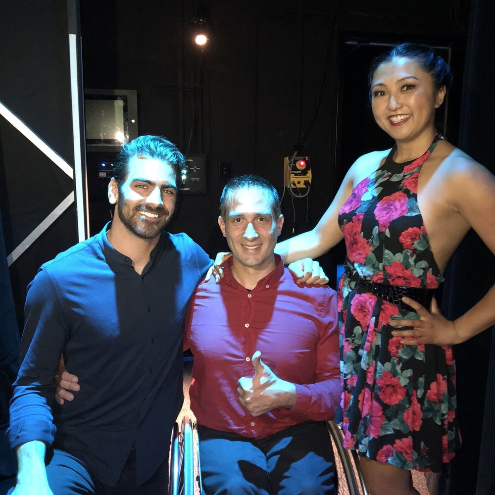 Nyle Dimarco, Piotr Iwanicki, and Marisa Hamamoto in the wings after the special presentation at Apple's Steve Jobs Theater.