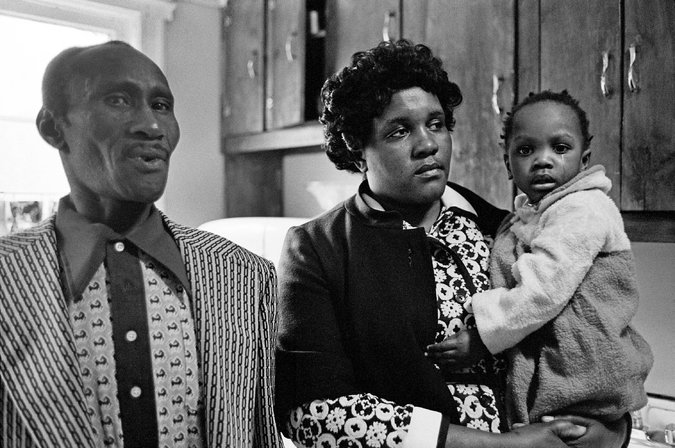 """Clifford's stepfather, Add Armstead; mother, Eloise Glover; and a sister, Patricia Glover, the day after Clifford was fatally shot in 1973."" Source: Gary Azon /  T  he New York Times"