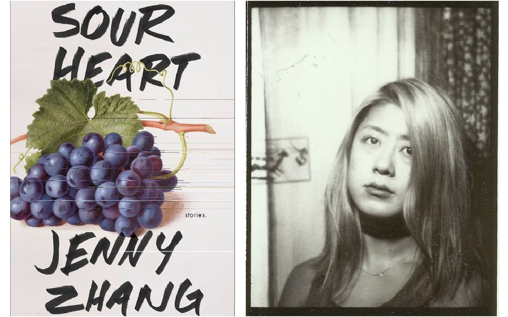 Above, left: Jenny Zhang's new short story collection,  Sour Heart.  Right: Author Jenny Zhang.