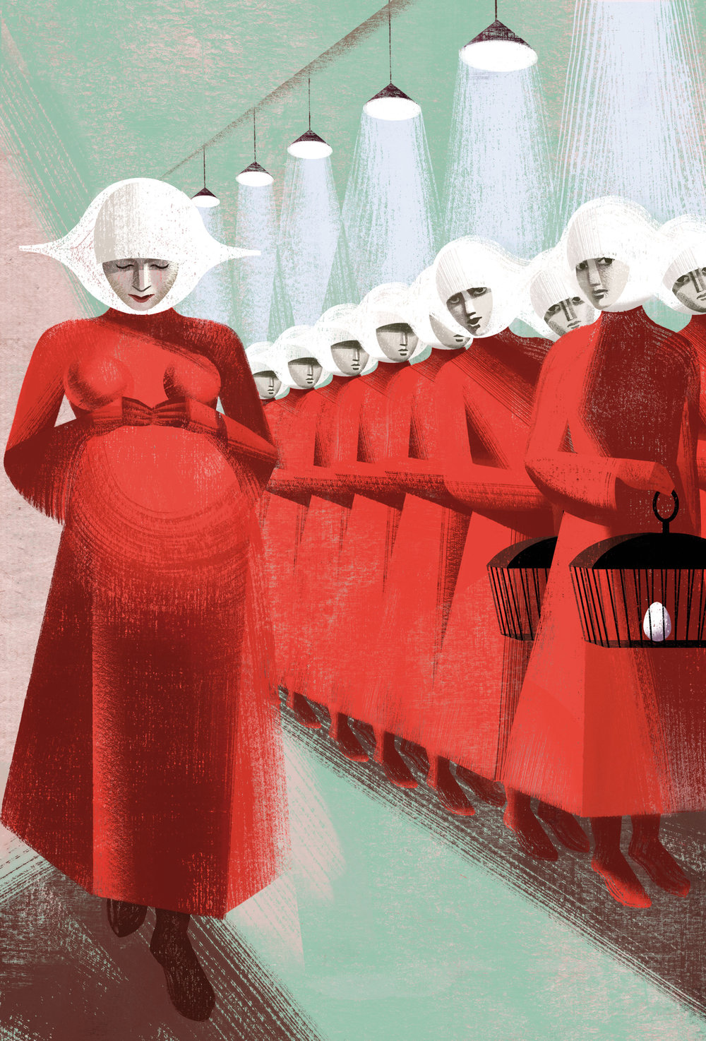An illustration of the handmaids in Margaret Atwood's   The Handmaid's Tale  . Illustration by the Balbusso Sisters, 2012. Credit:  Fine Books Magazine  &  The Folio Society .
