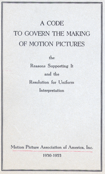 Cover of The Motion Picture Production Code of 1930