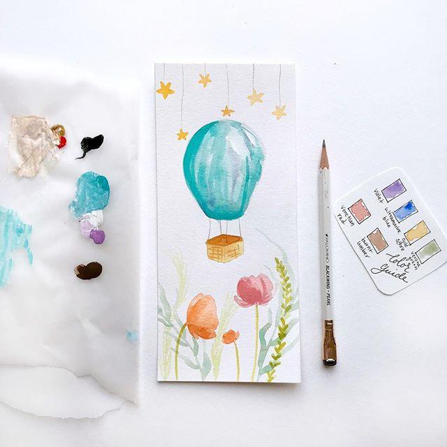 Anyone ready for a hot air balloon ride? : : : : : : : : : : #illustratorsofinstagram #instart #illustration #childrensillustration #homedecor #decorinspo #kidlitart #painteveryday  #playful #womenwhodraw #whimsicalart #whimsical #best_of_illustrations #childrenillustration #watercolor #gouache #creativebug #makeart #dowhatyoulove #momlife #adventure #hotairballoon #tellastory