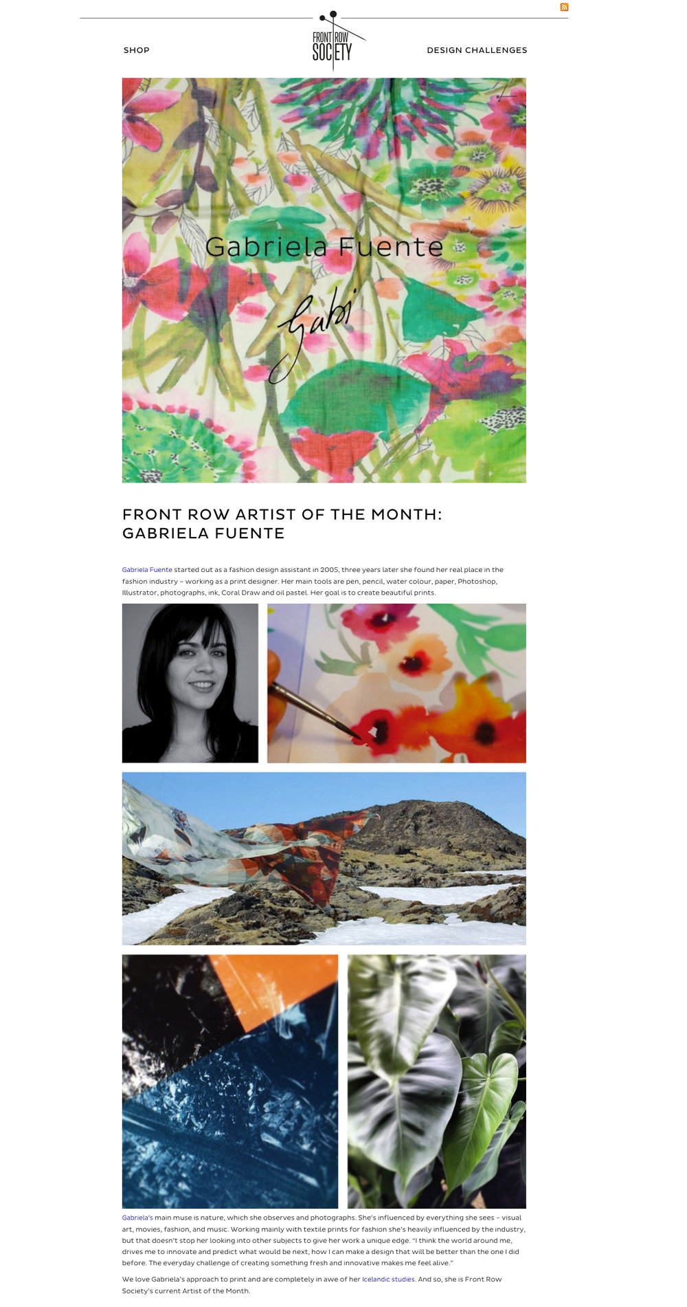 Blog Front Row Society - Germany  featuring Gabriela Fuente's work