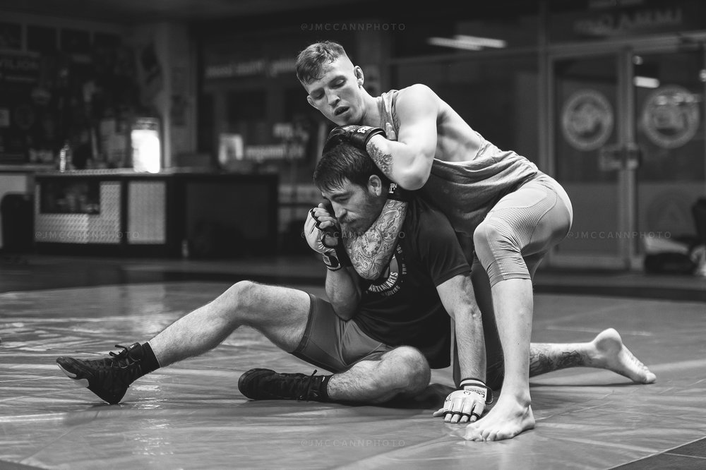 Rhys and teammate Gavin Kelly during grappling practice at Next Generation IMMA in Ballymena.